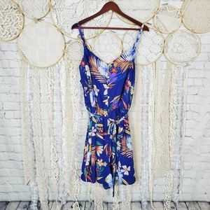 As U Wish Plus Size Blue Floral Tie Waist Romper